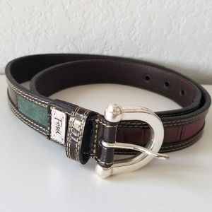 Fossil brown belt suede and leather mix md